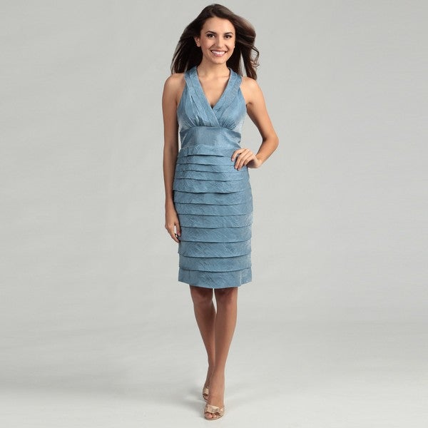 London Times Women's French Blue Pleated Dress