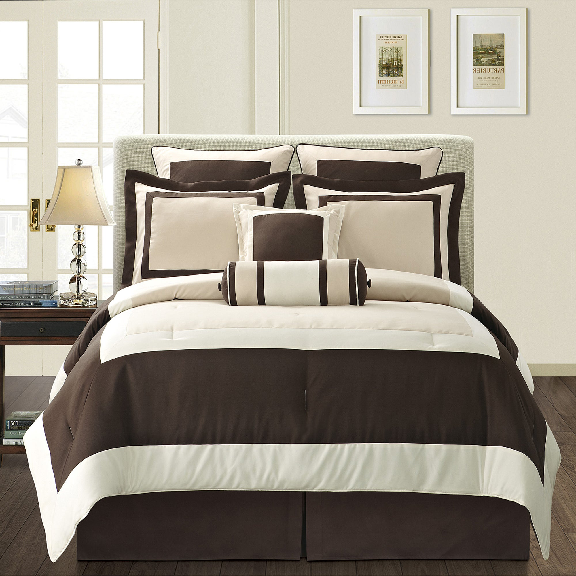 ivory gramercy california king size 8 piece comforter set overstock