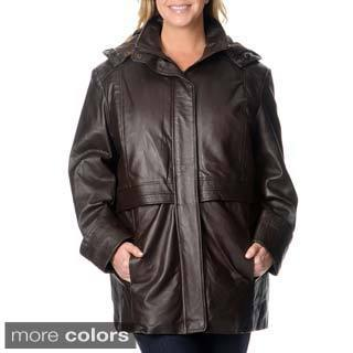 Excelled Women's Plus Size Black Leather Anorak