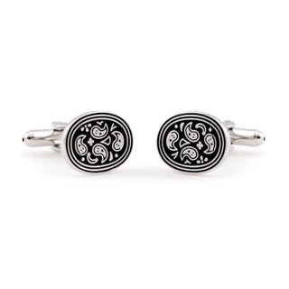 Cuff Daddy Silvertone Black and White Paisley Cuff Links