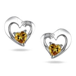 Miadora Sterling Silver Citrine and Diamond Accent Earrings (G-H, I3)