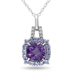 Miadora Sterling Silver Amethyst, Tanzanite and Diamond Accent Necklace