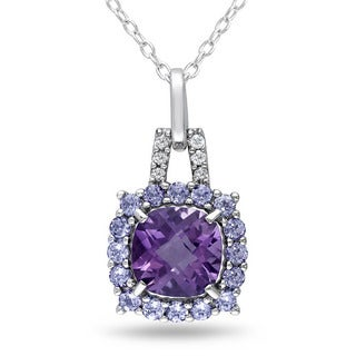 Miadora Sterling Silver Amethyst, Tanzanite and Diamond Accent Necklace