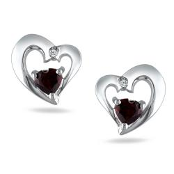 Miadora Sterling Silver Garnet and Diamond Accent Earrings (G-H, I3)