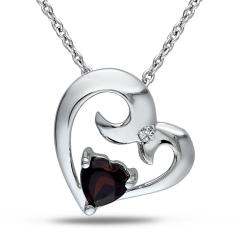 Miadora Sterling Silver Garnet and Diamond Accent Heart Necklace