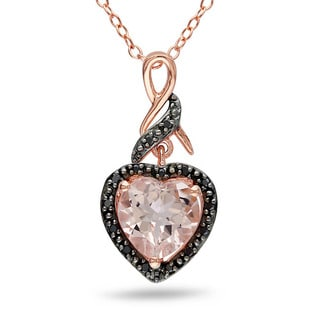 Miadora Pink Silver Morganite and 1/10ct TDW Black Diamond Necklace