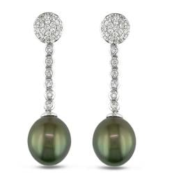 Miadora 14k White Gold 1 1/4ct TDW Diamond and Tahitian Pearl Earrings (12-13 mm)(G-H, SI1-SI2)