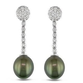 Miadora Signature Collection 14k Gold 1 1/4ct TDW Diamond/ Tahitian Pearl Earrings (12-13 mm)(G-H, SI1-SI2)