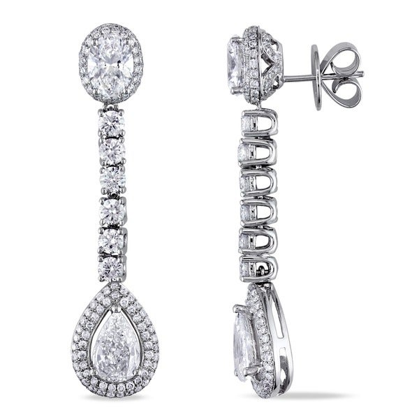 Miadora 18k White Gold 5 4/5ct TDW Diamond Earrings (F-G, VS2)