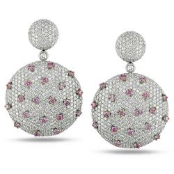 Miadora Signature Collection 18k White Gold 7 3/5ct TDW Pink and White Diamond Earrings (G-H, SI1-2)