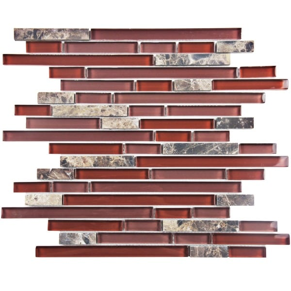 SomerTile 12x11.75-in Reflections Piano Bordeaux Glass and Stone Mosaic Tile (Pack of 10)