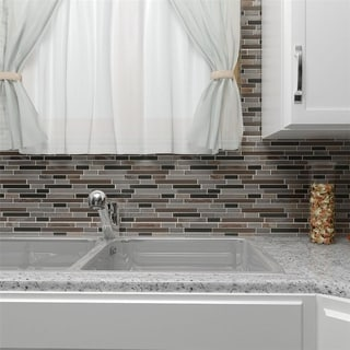 SomerTile 11.75x11.75-in Reflections Piano Stonehenge Glass and Stone Mosaic Tile (Pack of 5)