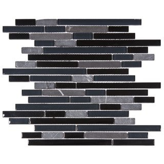 SomerTile 12x11.75-in Reflections Piano Bizancio Glass and Stone Mosaic Tile (Pack of 10)