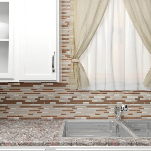 SomerTile 11.75x12-inch Reflections Piano Breno Glass and Stone Mosaic Wall Tile (Case of 10)