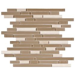SomerTile 12x11.75-in Reflections Piano Sandstone Glass and Stone Mosaic Tile (Pack of 10)