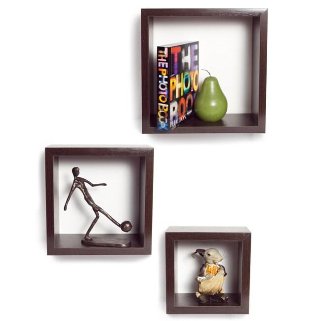 Walnut Veneer Nesting Square Shelves (Set of 3)