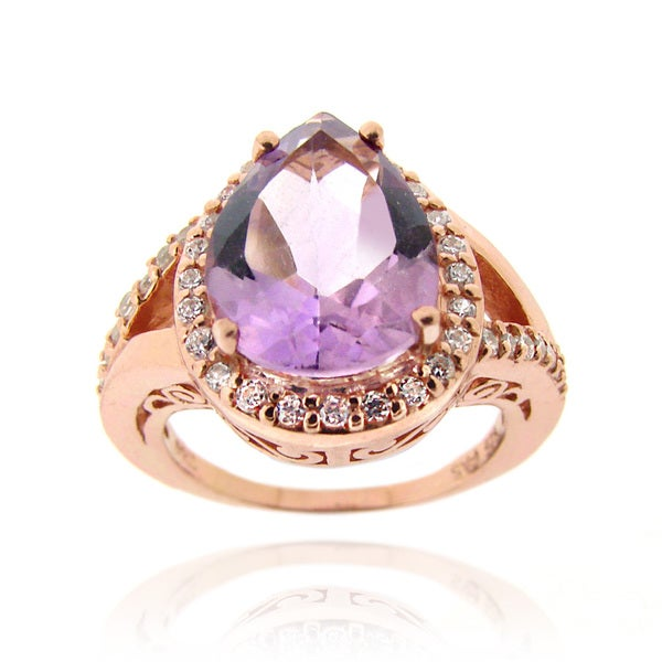 Glitzy Rocks Rose Gold over Silver Amethyst and Cubic Zirconia Ring
