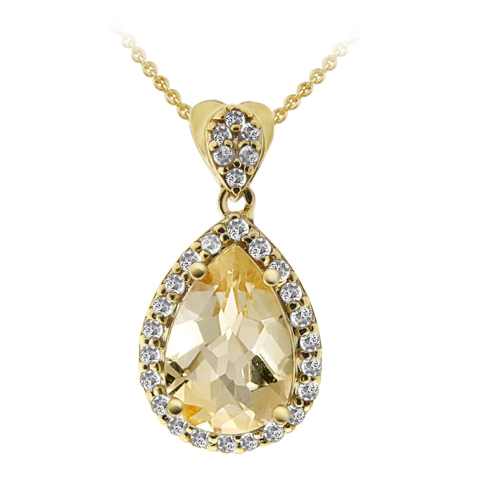 Glitzy Rocks 18 Karat Yellow Gold Over Silver Citrine Cubic Zirconia Teardrop Necklace