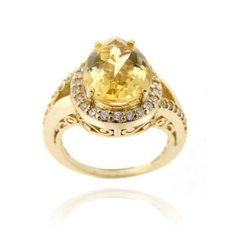 Glitzy Rocks 18k Yellow Gold over Silver Citrine and Cubic Zirconia Ring