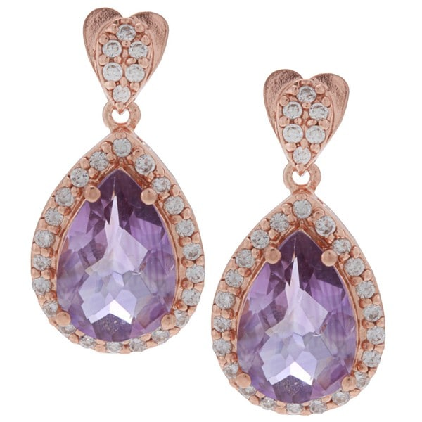 Glitzy Rocks Rose Gold over Silver Amethyst and Cubic Zirconia Earrings