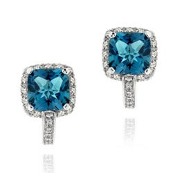 Glitzy Rocks Sterling Silver London Blue and White Topaz Earrings