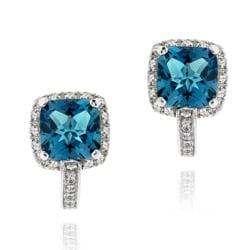 Glitzy Rocks Sterling Silver London Blue and White Topaz Earrings