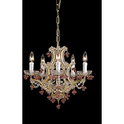 Crystorama Traditional Maria Theresa Rose 5-light Crystal Chandelier