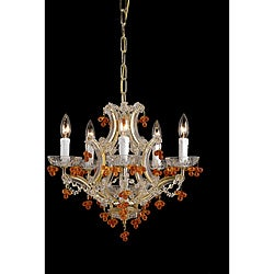 Crystorama Traditional Maria Theresa Amber 5-light Crystal Chandelier