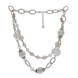 Nexte Jewelry Silvertone Double Strand Necklace