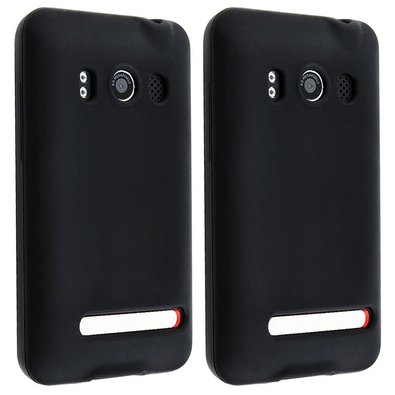 INSTEN Black Soft Silicone Skin Phone Case Cover for HTC Sprint EVO 4G/ Supersonic (Pack of 2)