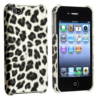 Grey Leopard Rear Snap-on Case for Apple iPhone 4 AT&T/ Verizon