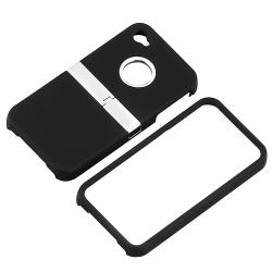 Black Snap-on Case with Chrome Stand for Apple iPhone 4