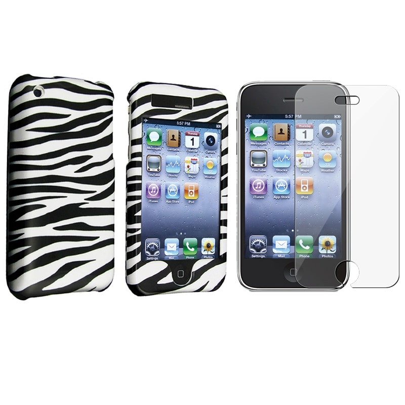 Zebra Hard Case Cover/ Screen Protector for Apple iPhone 3G/ 3GS