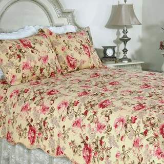 Lelia Pink Rose Cottage Cotton 3-piece Quilt Set