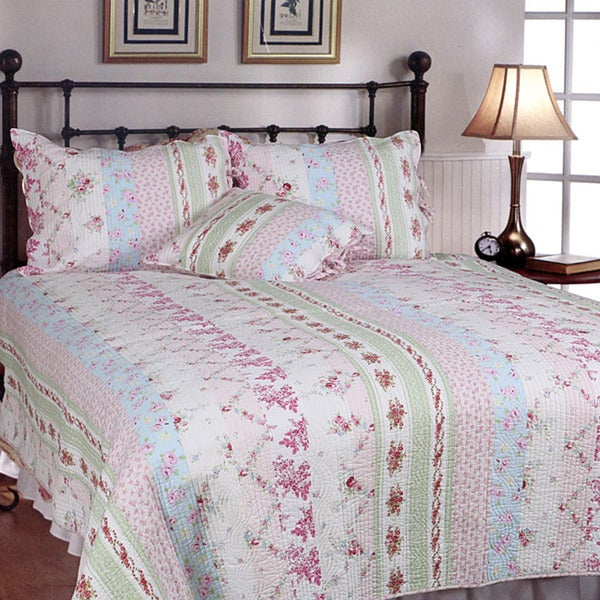 Wild Rose Enchantment Patchwork Twin-size 2-piece Quilt Set