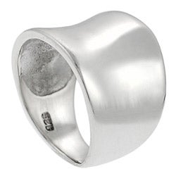 Journee Collection  Women's High-polish Sterling Silver Tapered Concave Band Ring