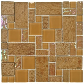 SomerTile 11.75 x 11.75-inch Oasis Versailles Peony Glass and Ceramic Mosaic Wall Tile (Case of 10)