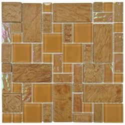 SomerTile 11.75-in Oasis Versailles Peony Glass/ Ceramic Mosaic Tiles (Pack of 10)