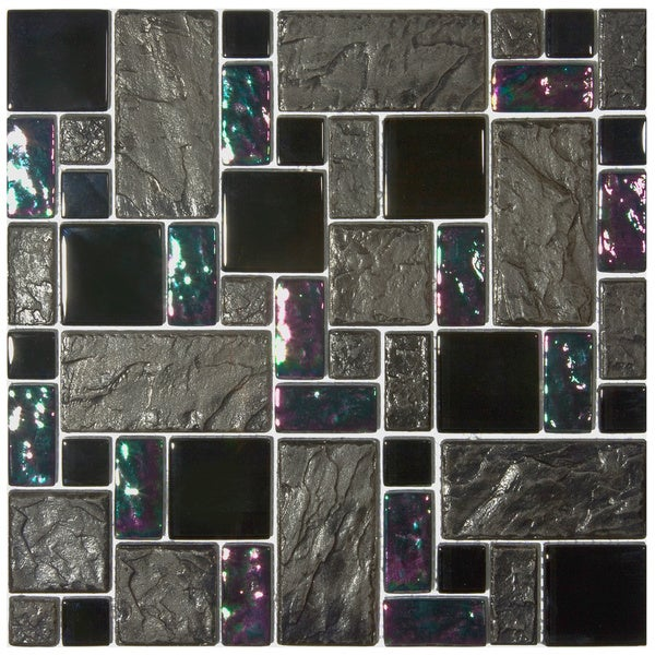 SomerTile 11.75x11.75-inch Oasis Versailles Iris Glass and Ceramic Mosaic Wall Tile (Case of 10)