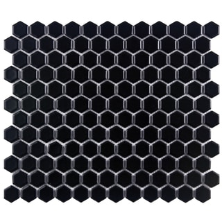 SomerTile 11.75-in Victorian Hex 1-in Matte Black Porcelain Mosaic Tiles (Pack of 10)