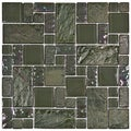 SomerTile 11.75-in Oasis Versailles Ivy Glass/ Ceramic Mosaic Tiles (Pack of 10)