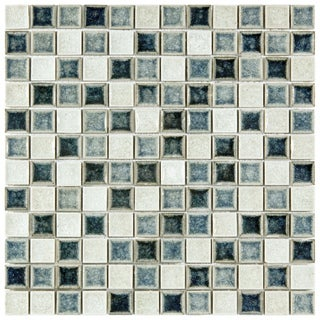 SomerTile 11.625x11.625-in Crackle Square Azure 1-in Handmade Glass/Ceramic Mosaic Tile (Pack of 5)