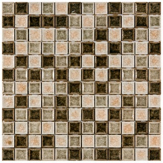 SomerTile 11.625-in Crackle Square Beige 1-in Handmade Glass/Ceramic Mosaic Tiles (Pack of 5)