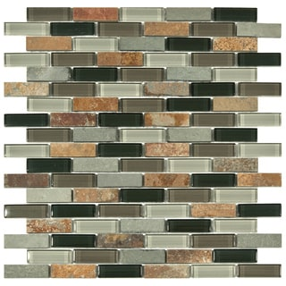 SomerTile 12x11.75-in Reflections Subway Stonehenge Glass and Stone Mosaic Tile (Pack of 10)