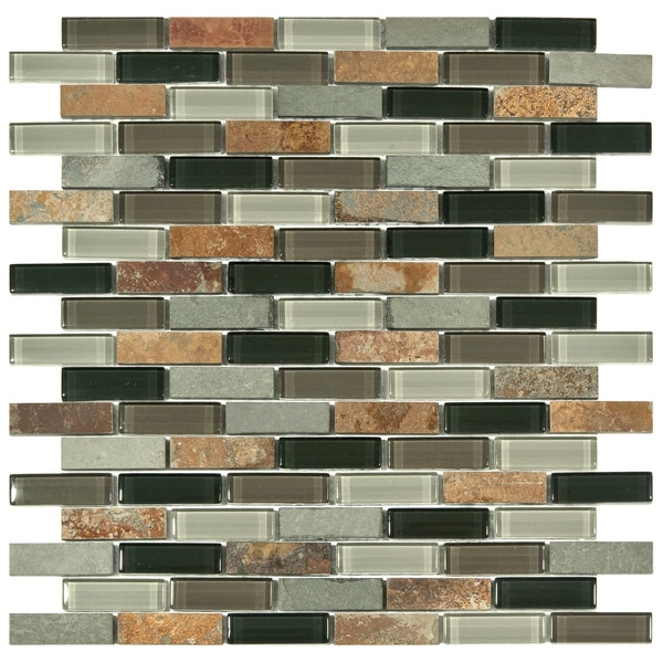 SomerTile 11.75x12-inch Reflections Subway Stonehenge Glass and Stone Mosaic Wall Tile (Pack of 10)