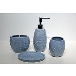 Savannah Molded Tropical-pattern Ceramic Bath Accessory 4-piece Set