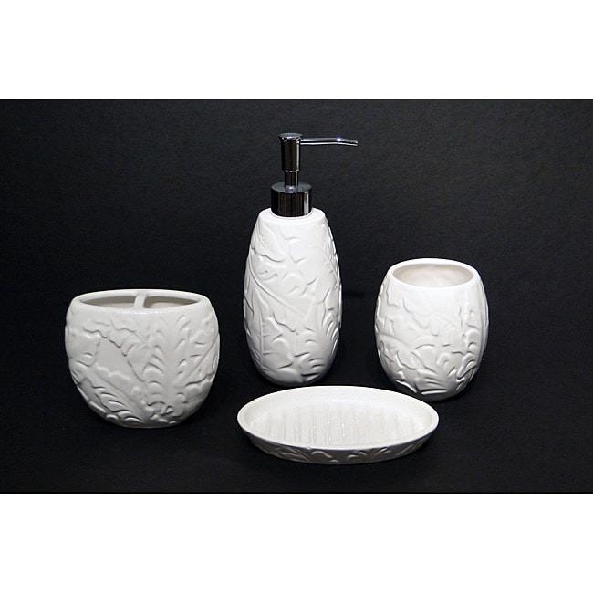 Savannah Molded Tropical Pattern Ceramic Bath Accessory 4 Piece Set Overstock Shopping The