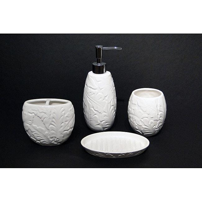 Savannah Molded Tropical-pattern Ceramic Bath Accessory 4-piece Set
