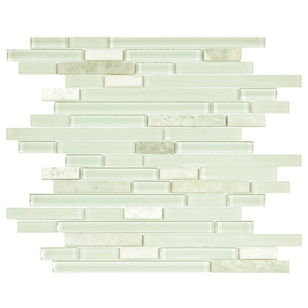 SomerTile 11.625 x 11.75-inch Reflections Piano Ming Glass and Stone Mosaic Wall Tile (Case of 10)