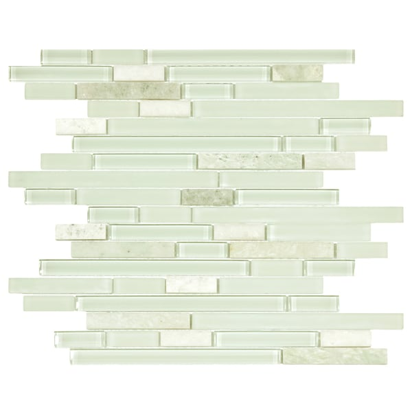SomerTile 11.875 x 11.75-inch Reflections Piano Ming Glass and Stone Mosaic Wall Tile (Pack of 10)